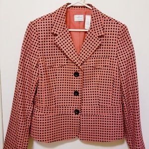 Liz Claiborne cute blazer jacket, salmon & black